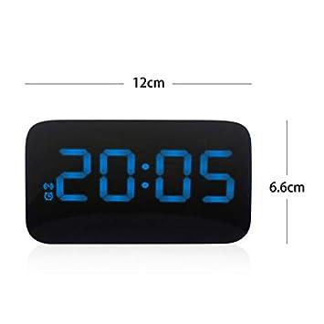 Blau Sprachsteuerung ONEVER Wecker am Bett Nicht tickt Digitale LED-Anzeigenw/ürfeluhren Batteriebetrieb
