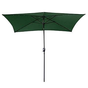 10 x6.5 Green Solar Aluminium Rectangle Tilt Patio Umbrella 20 LEDs