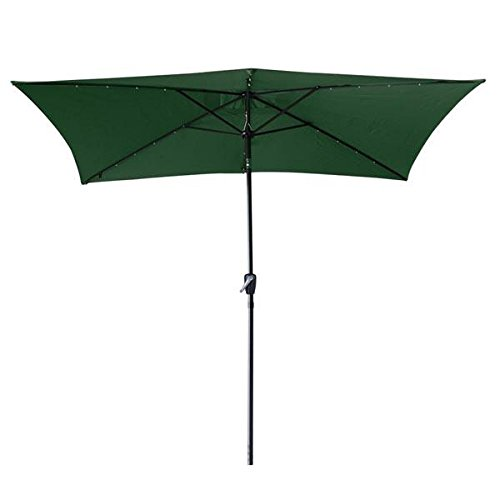 10 x6.5 Green Solar Aluminium Rectangle Tilt Patio Umbrella 20 LEDs