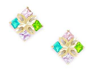 Or jaune 14carats Rose Vert et Bleu CZ M Kite forme pcs-Boucles d'Oreilles Femme-Dimensions 10mm x 10mm