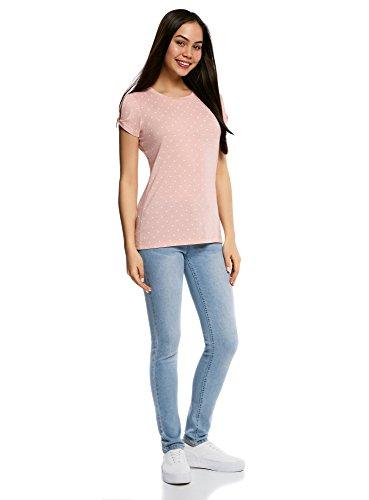 oodji Ultra Mujer Camiseta Recta con Aberturas en las Mangas Beige (3330D)