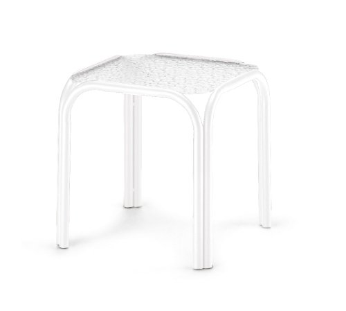 - Telescope 21300001 Casual Square Powder Coated Aluminum Acrylic End Table, 17-Inch, Gloss White Frame Finish