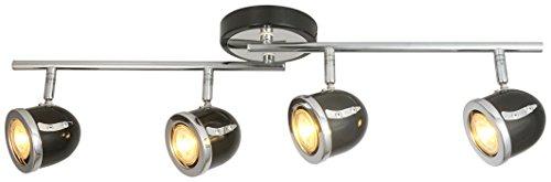 LED Retro Adjustable Eyeball Black &Chrome Ceiling Spotlight (Black & Chrome, 4 Lights) Chrome 4 Lamp Spotlight