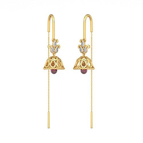 14K Or jaune 0.09CT TW White-diamond (IJ | SI) et Rhodolite Boucles d'oreilles pendantes