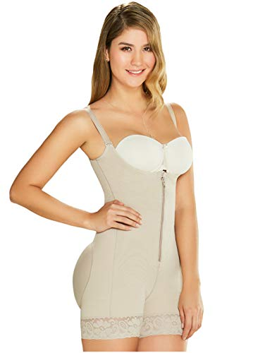 DIANE & GEORDI 2396 Mid Thigh Powernet Shapewear for Women Beige