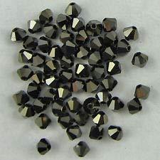48 4mm Swarovski Crystal bicone 5301 Jet Nut 2X Beads (Swarovski Jet Nut Crystal)