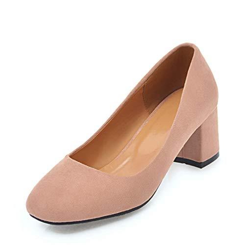 (GanQuan2018 Women Pumps Block Mid Heel Closed Round Toe Slip on Classic Ladies Dress Office Shoes)