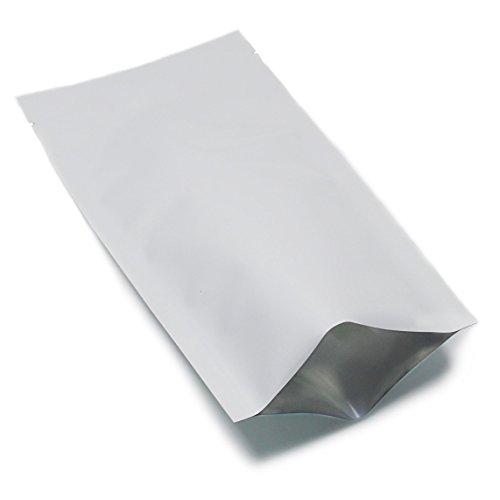 11.2x22.5cm (4.4x8.86 Inch) 400 Pcs Mylar Foil Open Top Bulk Food Storage Bags White Pure Aluminum Foil Heat Sealable Pouch Food Fresh Seeds Nut Tea Coffee Snack Smell Proof Wrappers with Tear Notches by BAT Pack