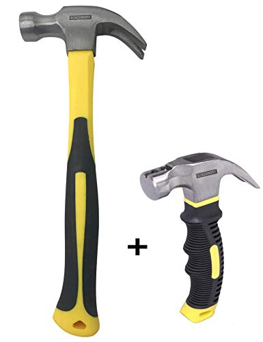 Benchmark – 2 Piece Hammer Set; 16 OZ. Claw Hammer and 8 oz Magnetic Head Mini Claw Hammer; Shock Absorbing Rubber Grips, Durable Fiberglass Handles And Polished Steel Heads