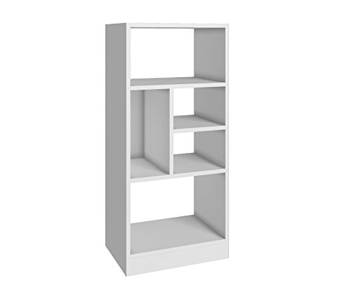 Manhattan Comfort Valenca 2.0 Collection Modern Decorative Free Standing 5 Shelf Bookcase with Open Shelf Design, White Open Bookcase Center