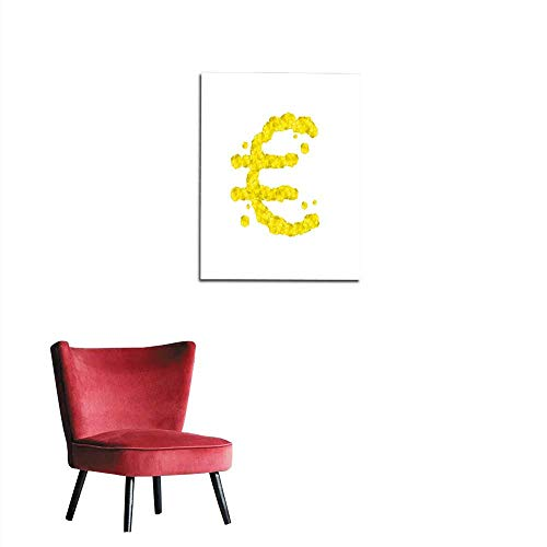 Photographic Wallpaper Alphabet Crystal diamond D virtual set Currency EUR European Euro symbol illustration Gemstone concept design yellow color isolated on white background vector epsmural 24