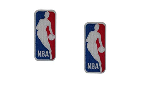 2 pieces NBA Iron On Patch Badge Applique Basketball Logo Emblem Sports Motif Decal 3.5 x 1.6 inches (8.8 x 4 - Nba Patch Team