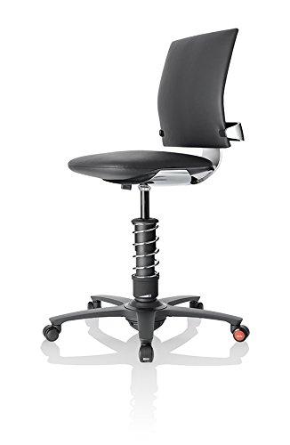 3Dee ergonomischer Bürostuhl/Chefsessel, Bezug: PREMIUM Leder in schwarz, Feder: COMFORTPLUS in chrom