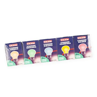 10x Lyvia 18w Coloured Standard Bulbs (2xMixed Pack PINK/BLUE/YELLOW/GREEN/RED) BC Base