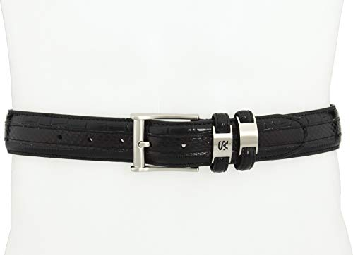(Stacy Adams Men's 35mm Genuine Snakeskin With Leather Embossed Crocodile And Lizard Belt, Black,)