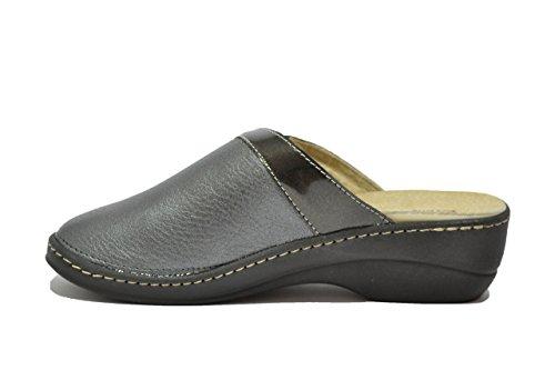 Cinzia Soft Ciabatte metal antracite scarpe donna plantare estraibile IAEH142-ZH