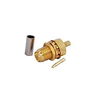 5pcs RF Cable coaxial Cable Terminal Conector RP-SMA hembra mamparo de grosor placa de