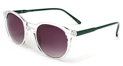 Samba Shades Liz and Rick Classic Round Vintage Wayfarer Sunglasses with Clear Frame, Purple - Sunglasses In Travel