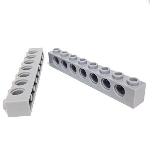 Lego Parts: Technic Brick 1 x 8 with Holes (PACK of 2 - LBGray) (Turbo Tank Support)