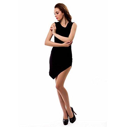 BaronHong mujeres sin mangas de moda collar de Irregular hem atractivo vestido de club de colores negro