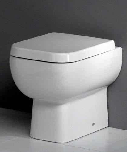 600 Square Back to Wall Toilet Pan WC BTW Short Projection Soft Close Seat RAK Ceramics TLBTWRAK600