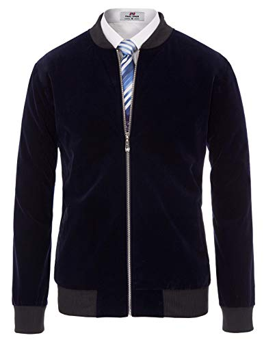 PAUL JONES Men's Slim Fit Long Sleeve Mandarin Collar Bomber Jackets(Dark Navy,M) ()