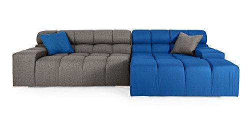 Kardiel Cubix Modern Modular Sofa Sectional Right, Sapphire/Cadet Grey Cashmere For Sale