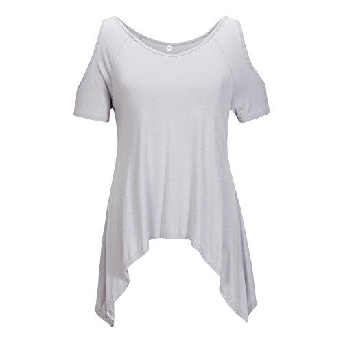 Beauty7 Off Hombro Sin Tirante Camisas Mujeres Algodon Suave Manga Corta Hueco Camisetas Blusas Casual T-Shirt Tops Tees Verano Parte Superior Baggy Playeras Azul Negro Gris