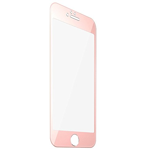 F-color Full Coverage Compatible Replacement iPhone 6S Screen Protector, Rose Gold Screen Protector, Alloy Metal Frame and Tempered Glass, Anti Shatter, Easy to Install, 4.7 Inch