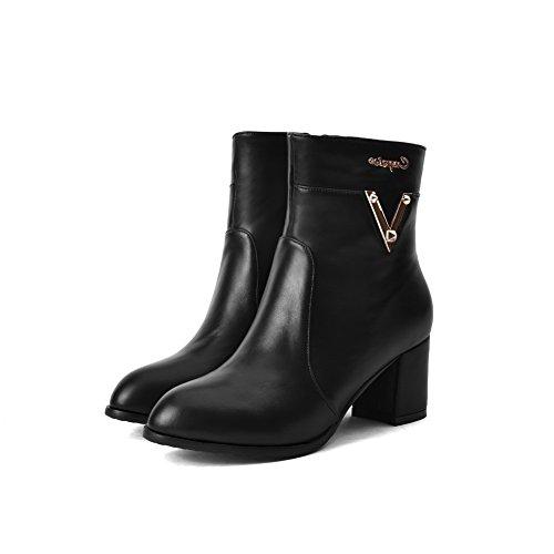 Closed Kitten Zipper Solid heels Nero Boots Women's Agoolar Toe Materiali Round Blend Iq85nUAWw