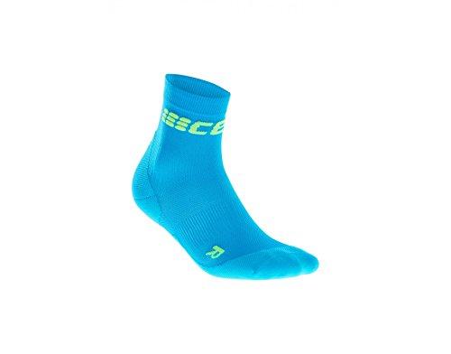 CEP Womens Crew Cut Performance Running Socks Ultralight(Electric Blue/Green) III