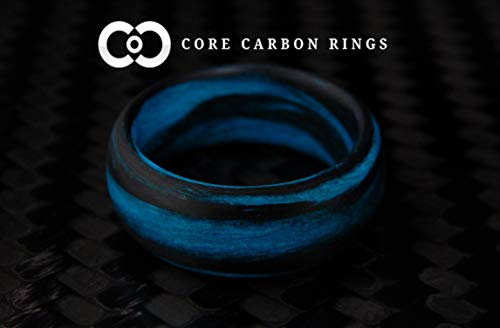 (Men's or Women's Carbon Fiber Blue Marbled Glow Ring - Handcrafted - Black and Blue Glowing Band - Custom Band widths )