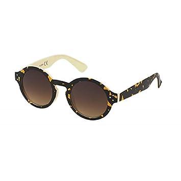 Sonnenbrille Retro Round Glasses 400 UV Schlüssellochsteg drei Zierpunkte weiß eGLHR