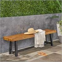 Sandblast Teak Finish and Black Christopher Knight Home 306036 Toby Outdoor Acacia Wood Bench