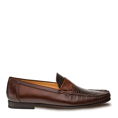 Mezlan SICA Mens Luxury Formal Loafers - Calfskin & Crocodile Slip-On Loafer with Leather Sole - Handcrafted in Spain - Medium Width (11.5, Brown)