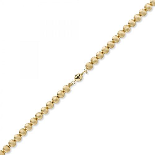 8mm Boule chaîne collier en or jaune 585Mat 50cm