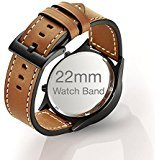 Mifa - 22mm Watch Band smartwatch Replacement Strap w/ Quick Release for Smart Watch with 22 mm bands width like Samsung S3 - Brown (Brown)