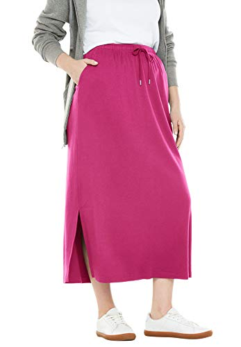 Woman Within Women's Plus Size Sport Knit Side-Slit Skirt - Bright Berry, 22/24