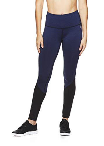 HEAD Women's High Waisted Workout Leggings - Full Length Athletic Yoga & Running Pants - Opener Medieval Blue, Small