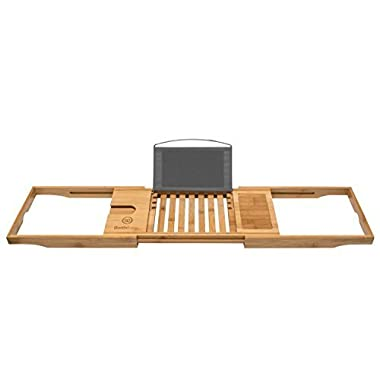 Bathforia Bathtub Caddy: Bamboo Bathtub Caddy Puts The Relaxation Back In Bath Time – Bathtub Tray – Store All Bathtub Accessories – Bathtub Caddy With Book Holder – Luxury Bath Products – Guaranteed