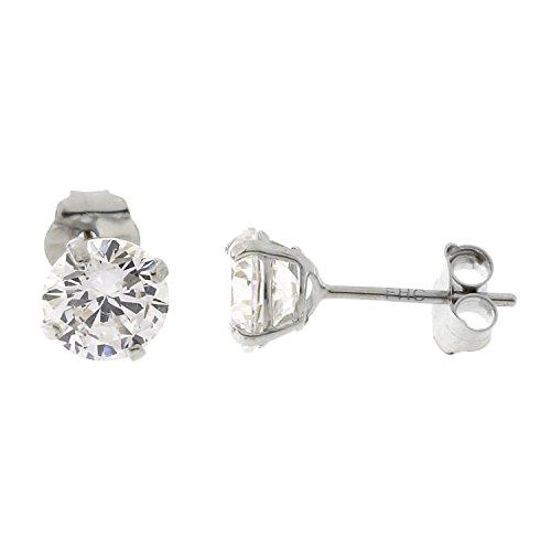 14k White Gold Basket Set Cubic Zirconia Stud Earrings, 5 Millimeters (0.92ctw) ()