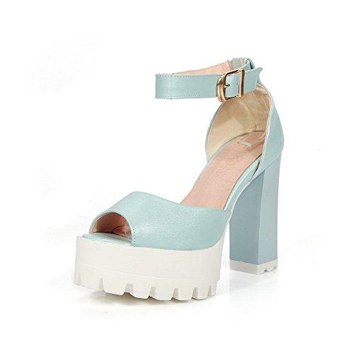 AllhqFashion Women's Peep-Toe High Heels Buckle Solid Sandals Blue