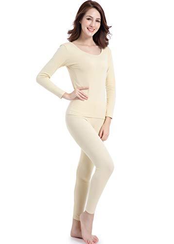 - Women Long Johns Thermal Set Thin Crew Neck Base Layer Lightweight Underwear