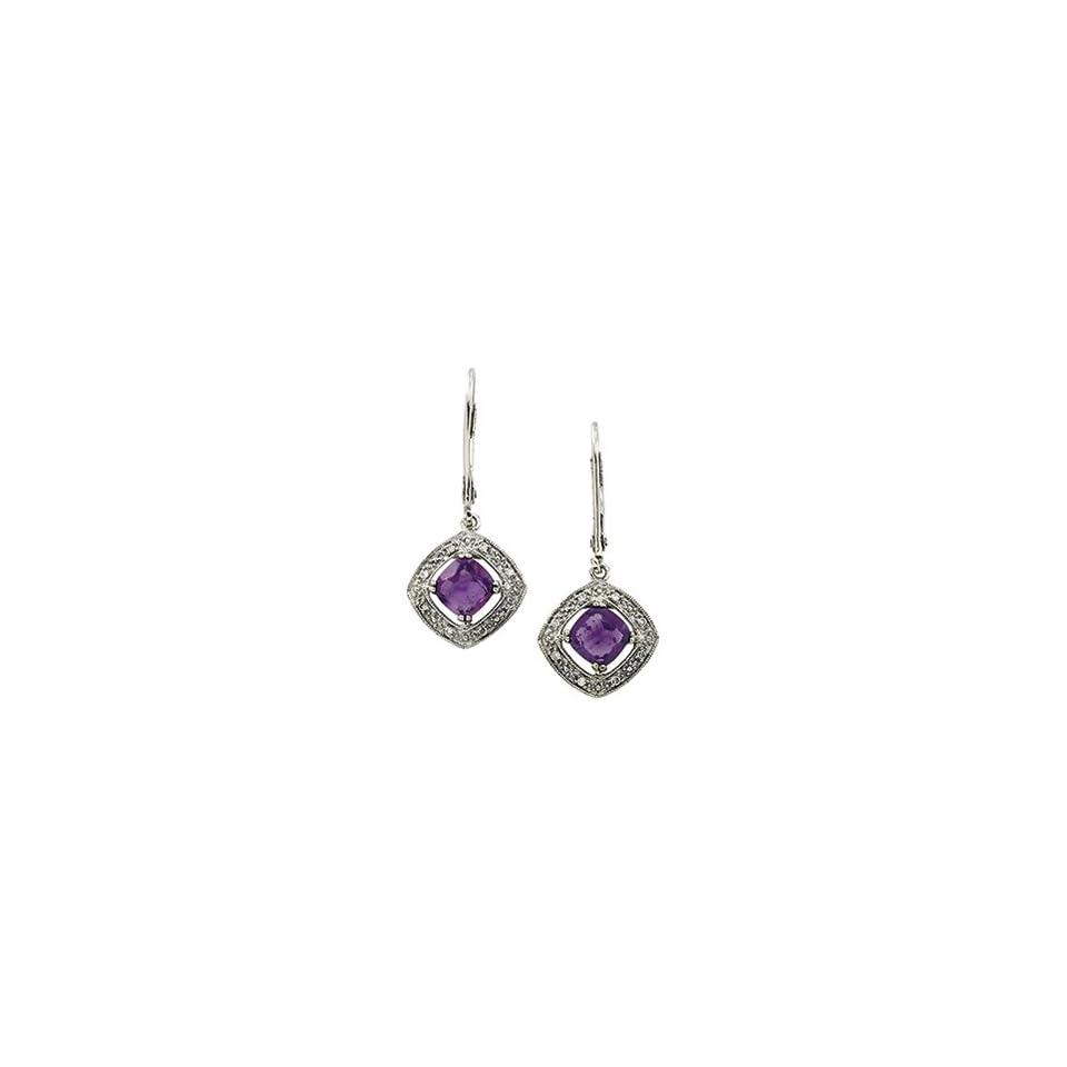 14K White Gold Amethyst & Diamond Earring
