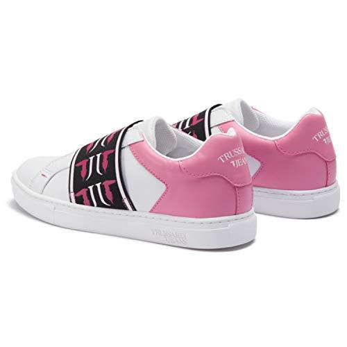 Woman White pink Sneakers Jeans Pelle 79a00329 39eu Slip Trussardi On In HxUBIw