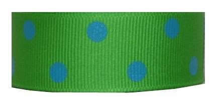 Grosgrain Ribbon Dippy Dots 7/8 Inch 10 Yards Apple Green, Turquoise