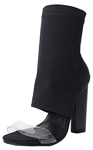 High Heel Hohe Booties Easemax Damenmode Up Ankle Zip Chunky Spitze Offene x6gn16A
