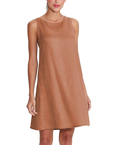 - Amazhiyu Women's Linen Sleeveless Dresses with Pockets Crew Neck Casual Tank Dress for Summer (Brown, Small)
