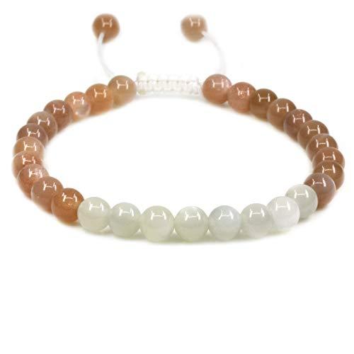 - Natural AA Multicolor Sunstone Gemstone 6mm Round Beads Adjustable Bracelet 7