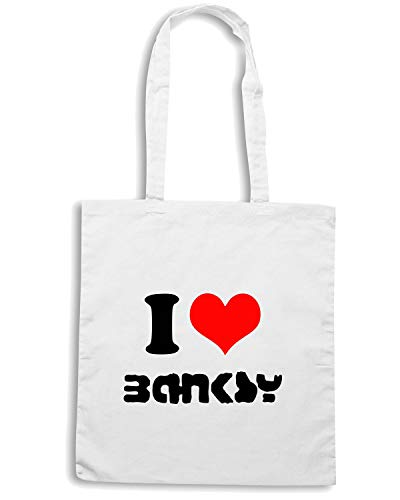 Borsa Shopper Bianca TR0061 I LOVE BANKSY STREET ART